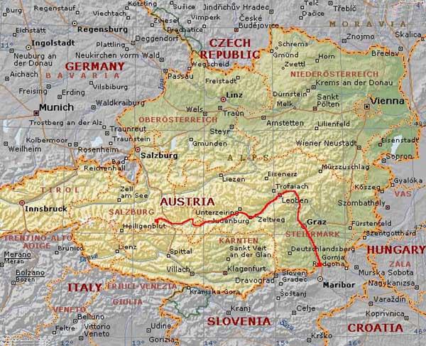 Cartina di austria pictures to pin on pinterest tattooskid - Mappa di ungheria ed europa ...